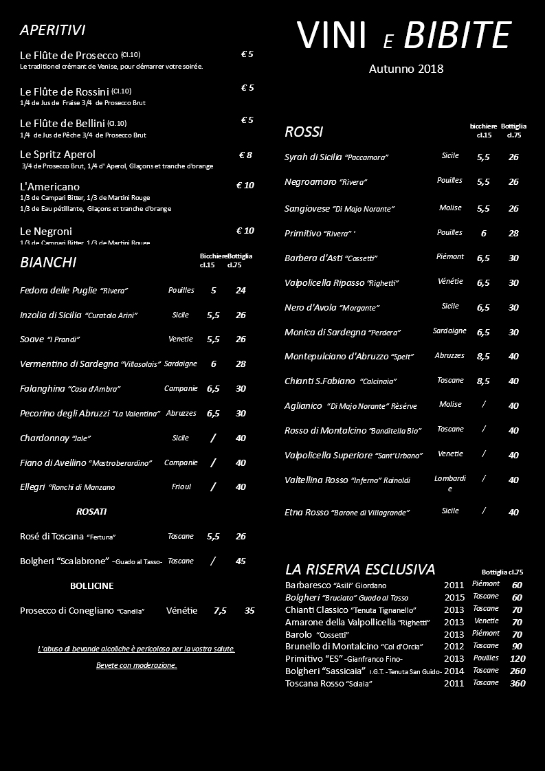 CARTE DE VINS AUTOMNE 2018 NOIRE ITA